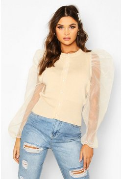 Stone Knitted Organza Sleeve Cardigan