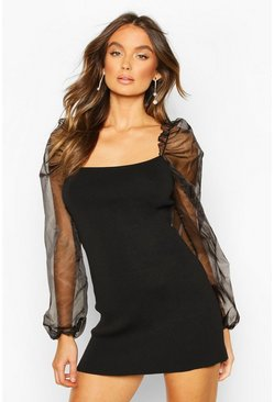 Black Knitted Organza Puff Sleeve Dress