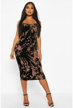 Womens Black Devoure Floral Hook & Eye Midi Dress