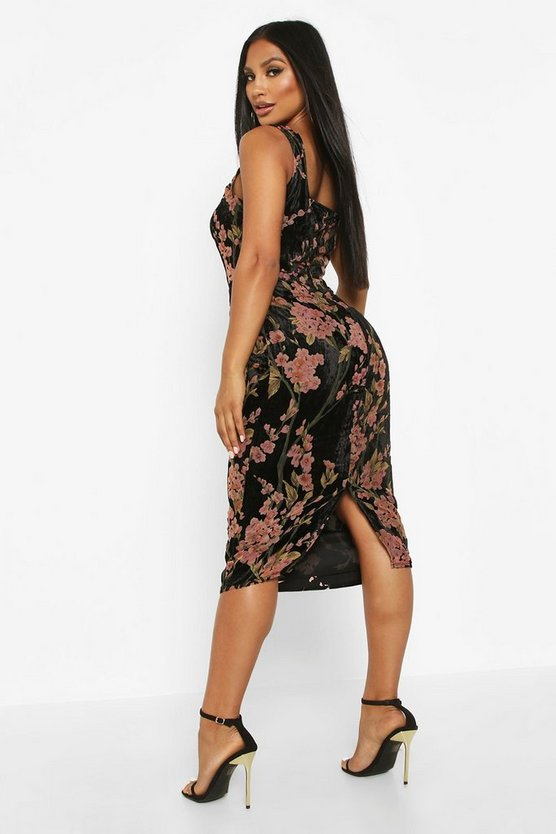 Devoure Floral Hook & Eye Midi Dress
