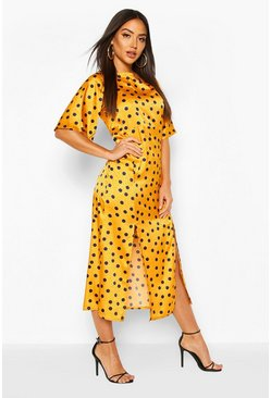 Mustard Satin Spot Curved Waist Midaxi Dress