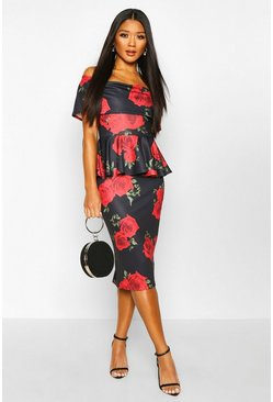 Black Rose Print Off The Shoulder Peplum Midi Dress