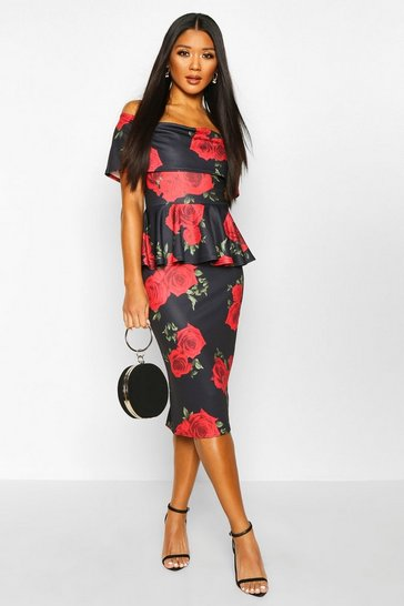 Womens Black Rose Print Bardot Peplum Midi Dress