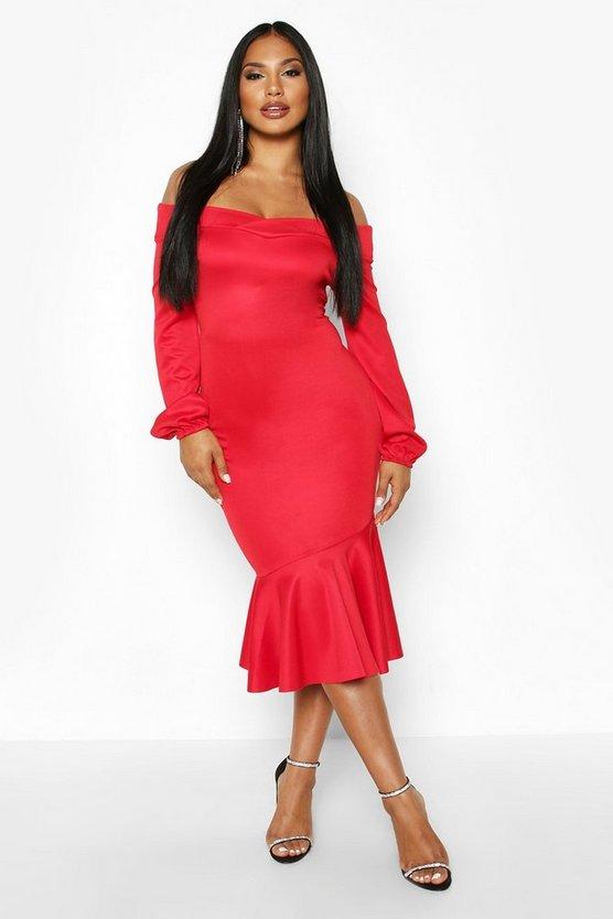 Bardot Long Sleeve Peplum Hem Midi Dress
