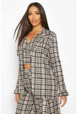 Womens Brown Heritage Check Oversized Blazer