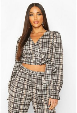 Womens Brown Heritage Check Wrap Over Blouse