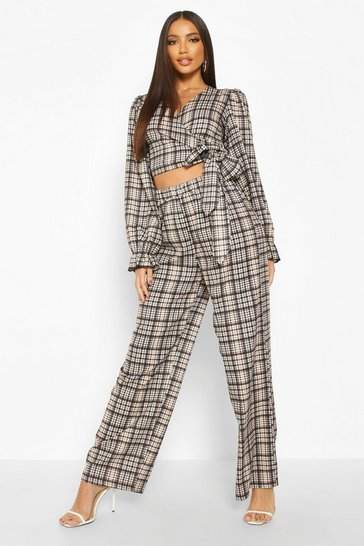 Womens Brown Heritage Check Extreme Oversize Wide Leg Trouser