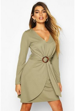 Womens Khaki O Ring Wrap Tailored Mini Dress