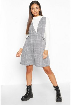Womens Black Check Pinafore Skater Dress