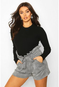Womens Black Belted Prince Of Wales Check Tailored Shorts