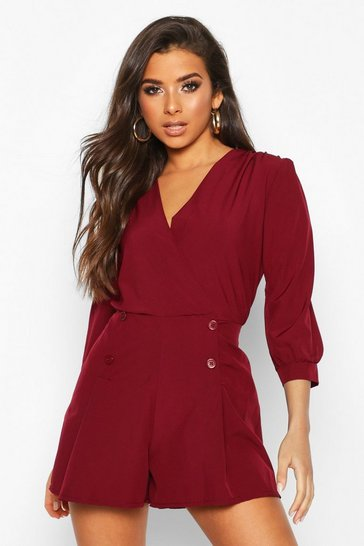 Womens Wine Wrap Detail Volume Sleeve Playsuit