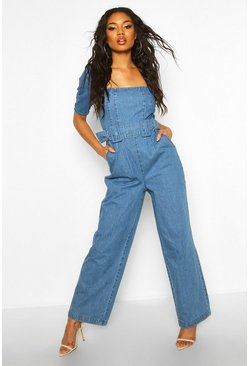 Womens Mid blue Belted Denim Wide Leg Jumpsuit
