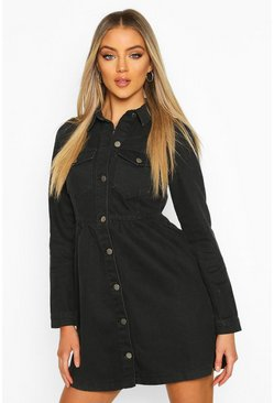 Dam Black Long Sleeve Denim Smock Dress