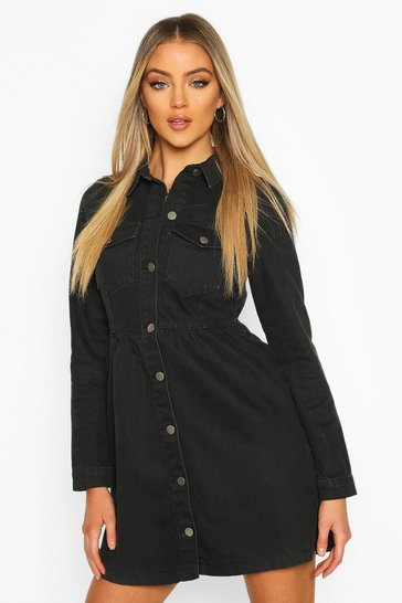 Womens Black Long Sleeve Denim Smock Dress