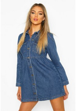Womens Mid blue Long Sleeve Denim Smock Dress