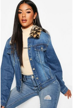 Womens Mid blue Leopard Faux fur Collar Cropped Denim Jacket