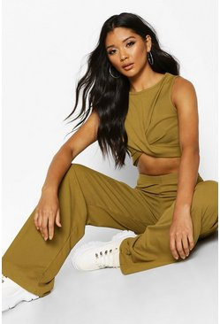 Womens Olive Twist Rib Top & Wide Leg Trouser Co-Ord