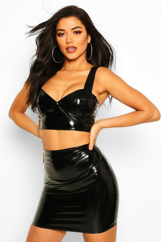 Black Vinyl Bralet & Mini Skirt Co-Ord