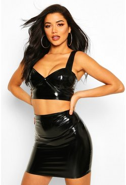 Womens Black Vinyl Bralet & Mini Skirt Co-Ord