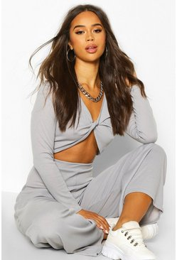 Womens Grey Twist Front Rib Top & Wide Leg Trouser Co-Ord