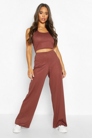 Womens Chocolate Sleeveless Racer Neck Top & Rib Trouser Co-Ord