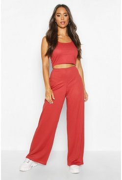 Womens Rust Sleeveless Racer Neck Top & Rib Trouser Co-Ord