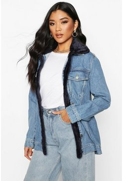 Mid blue Oversized Borg Detail Denim Jacket