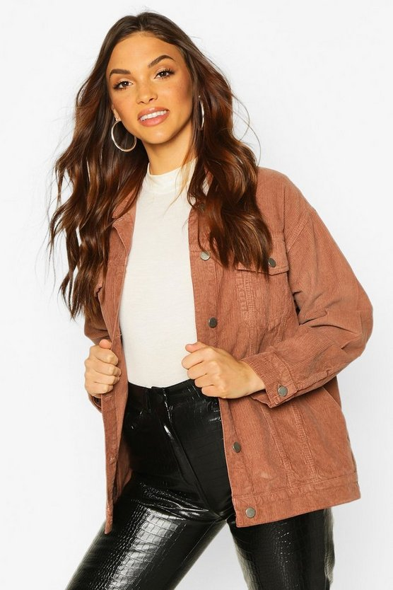 Womens Brown Oversized Cord Trucker Jacket