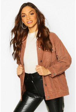Brown Oversized Cord Trucker Jacket