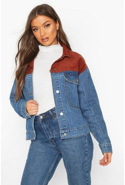 Womens Mid blue Cord Detail Oversized Denim Jacket