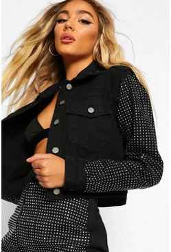 Womens Black Diamante Rhinestone Denim Cropped Jacket