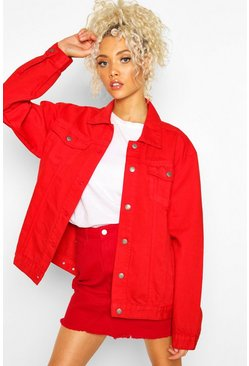 Rote Oversized Denim-Jacke, Rot, DAMEN