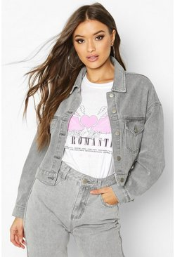 Grey Cropped Denim Jacket