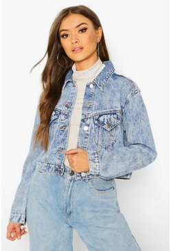 Womens Mid blue Acid Wash Cropped Jacket