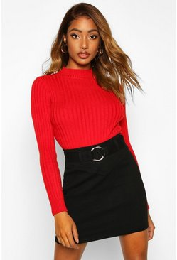 Womens Black Super Stretch Belted Mini Skirt