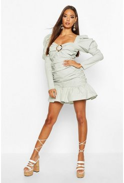Womens Sage Ruched Sweetheart Volume Sleeve Mini Dress