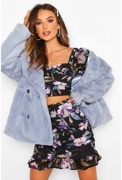 Womens Navy Floral Volume Shirt Bralet