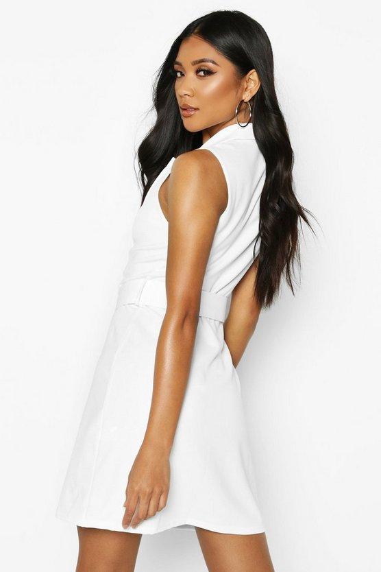 Sleevless Belted Blazer Dress