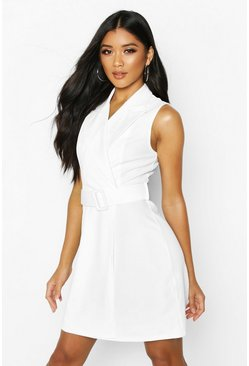 Womens White Sleevless Belted Blazer Dress