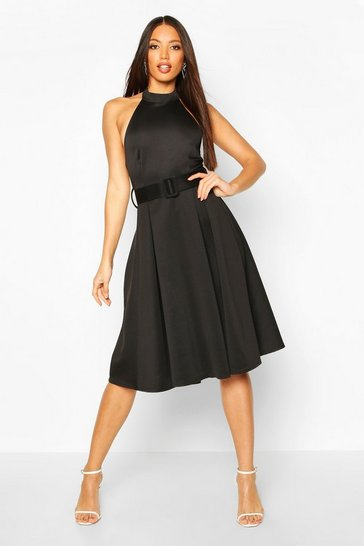Black Halterneck Belted Midi Skater Dress