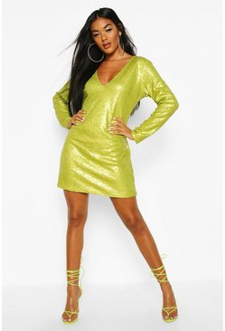 Womens Chartreuse Sequin Plunge Shift Dress