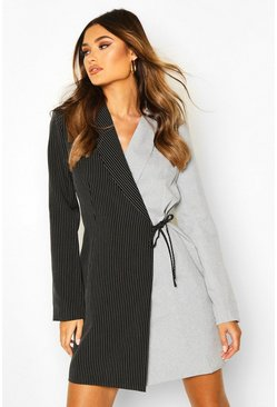 Womens Black Contrast Pinstripe Wrap Over Blazer Dress