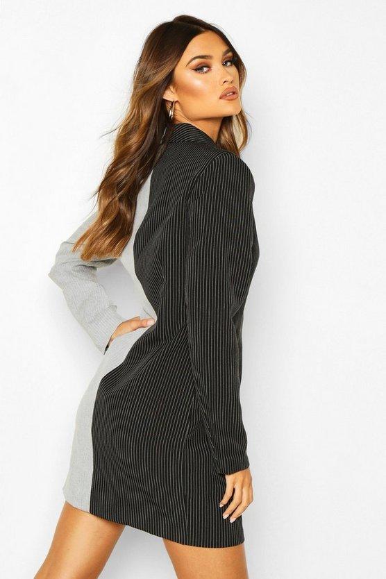 Contrast Pinstripe Wrap Over Blazer Dress