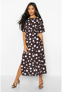 Womens Black Polka Dot Split Front Flare Sleeve Midi Dress