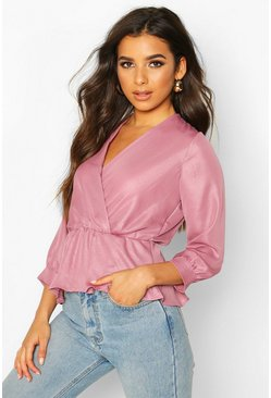 Rose Sparkle Fabric Woven Wrap Blouse
