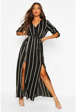 Womens Black Stripe Midi Belted Shirt Dress