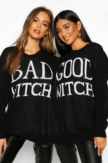 Womens Black Good Witch Bad Witch Twin Jumper