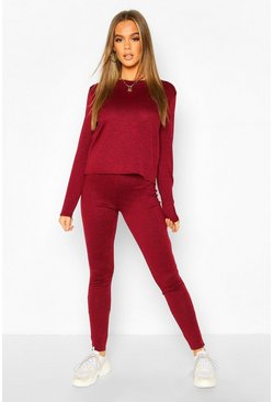 Womens Berry Long Sleeve T-Shirt & Jogger Knitted Lounge Set