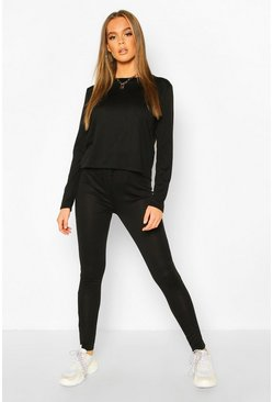 Womens Black Long Sleeve T-Shirt & Jogger Knitted Lounge Set