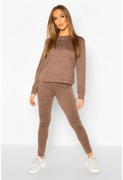 Womens Chocolate Long Sleeve T-Shirt & Jogger Knitted Lounge Set